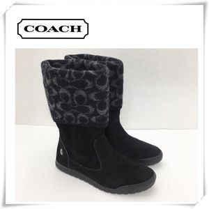 EUC Coach Tatum Suede Wool Knit Winter Boot Black
